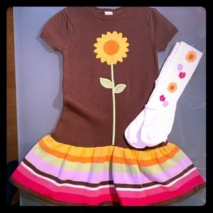 Gymboree Sunflower Smiles Sz 5 Dress Tights Outfit